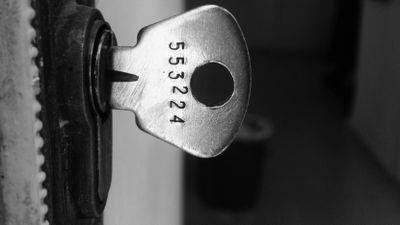 Close up of key in rv-lock representing security