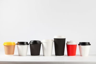 Various disposable coffee cups