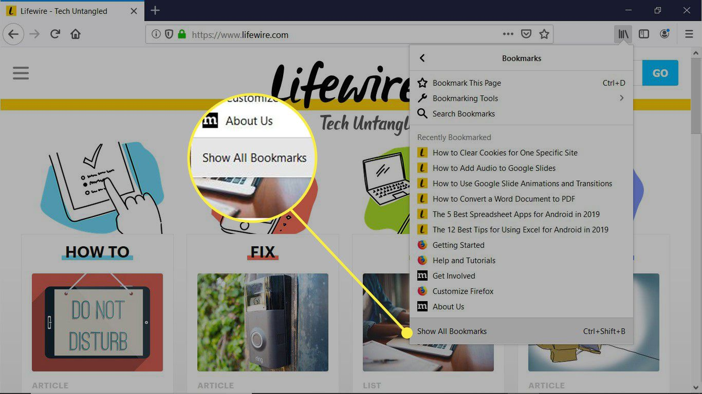 Firefox browser window with the Show All Bookmarks option highlighted
