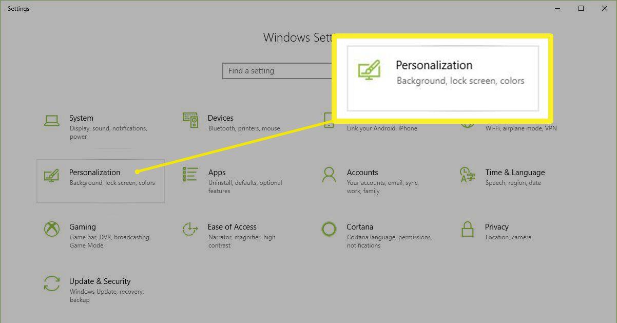 Windows Settings > Personalization