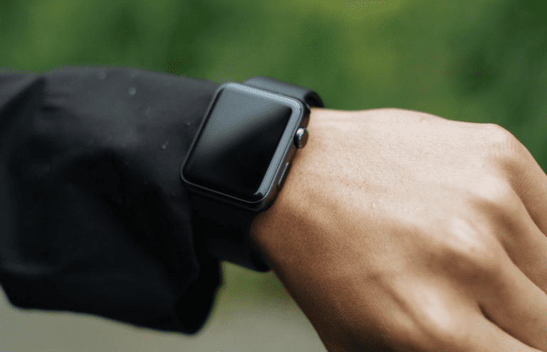 An Apple Watch with a dark screen