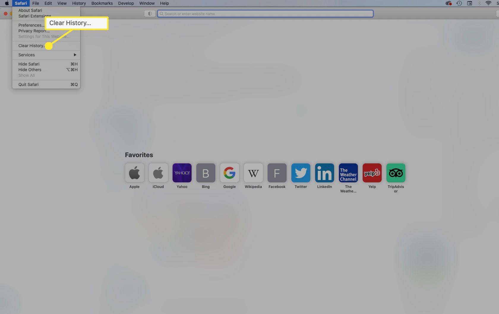From Safari's menu bar, select Safari > Clear History.