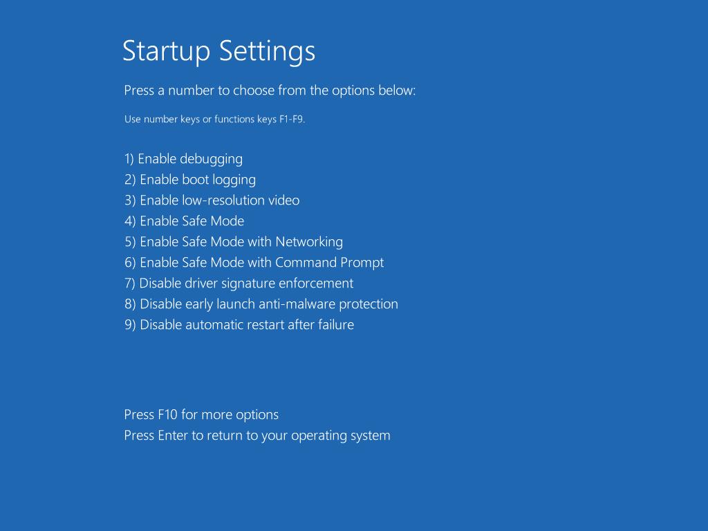 Screenshot of the Startup Settings menu in Windows 10