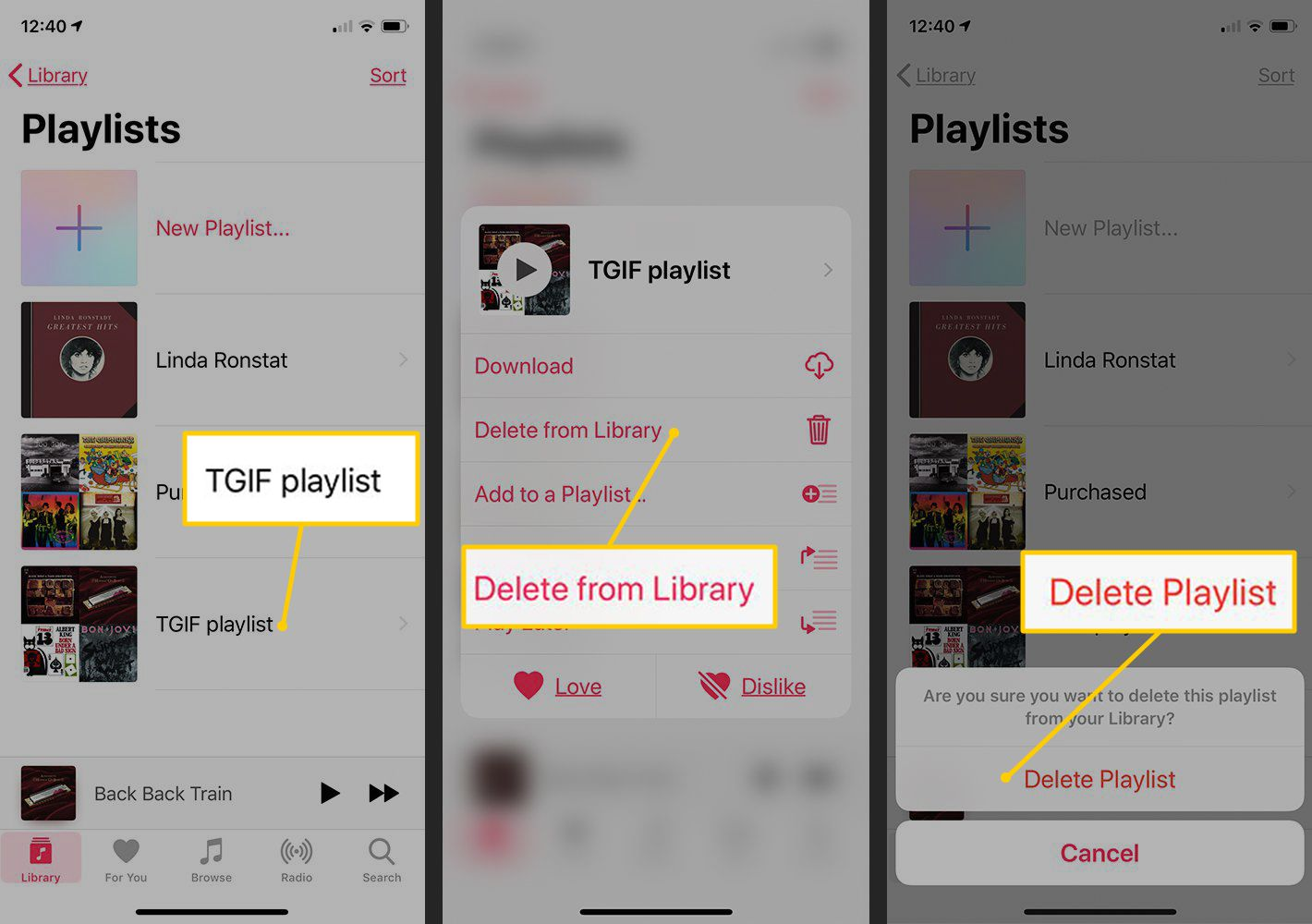 Playlist, Delete from Library, Delete Playlist