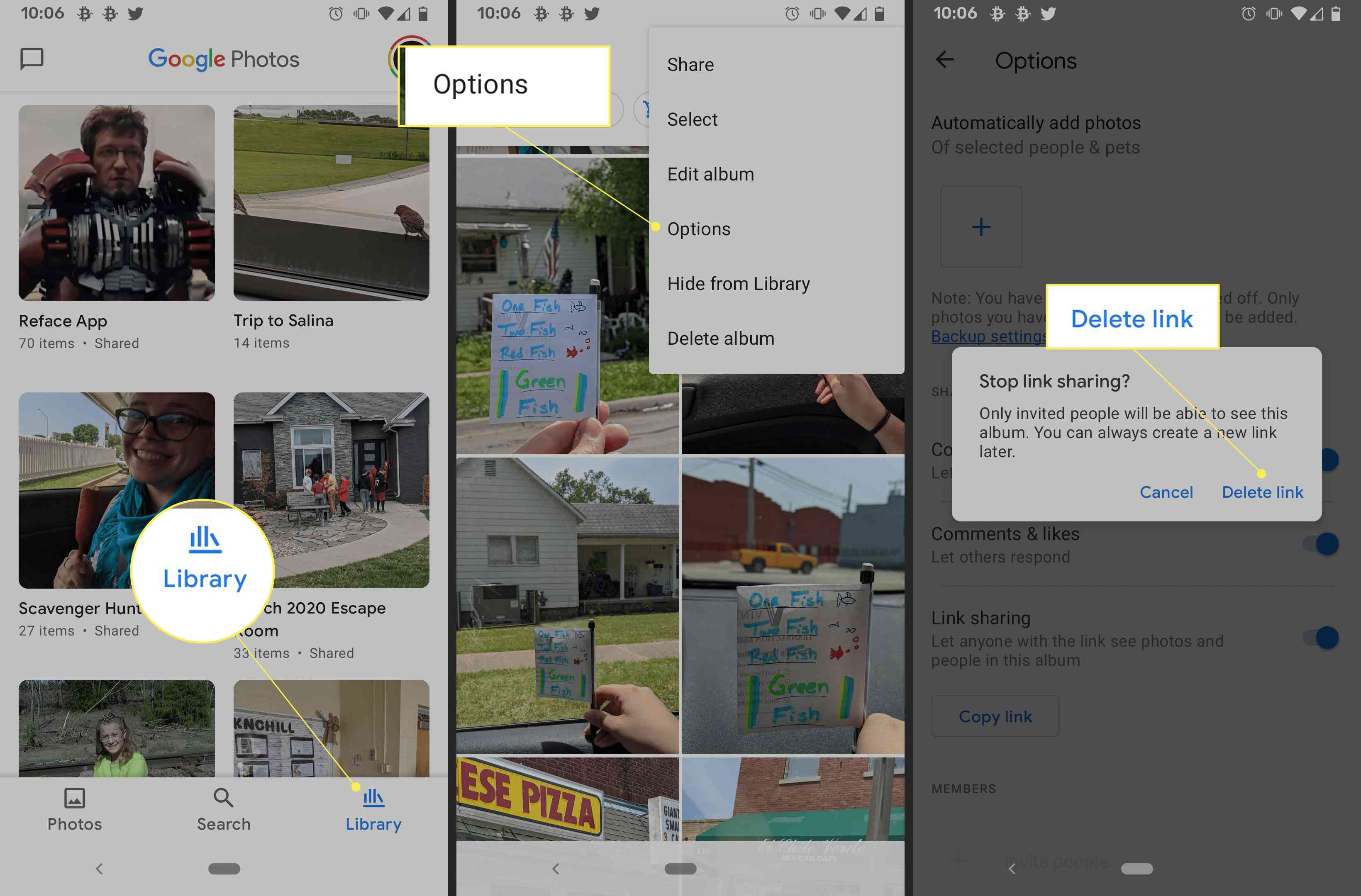 Google Photos delete link prompt for link sharing on Android, with
