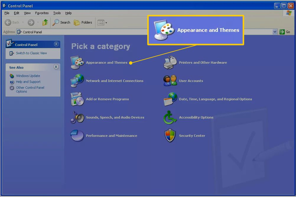 Appearance and Themes in Windows XP Control Panel