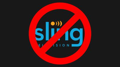Sling TV logo with No Symbol over it.