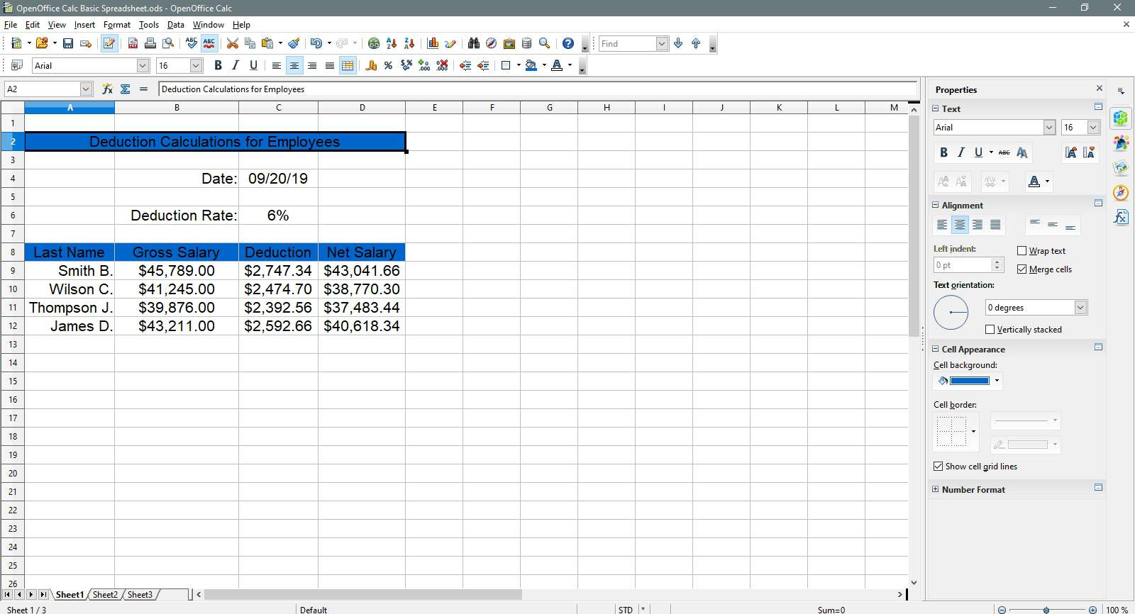 Selecting the title header in OpenOffice Calc.