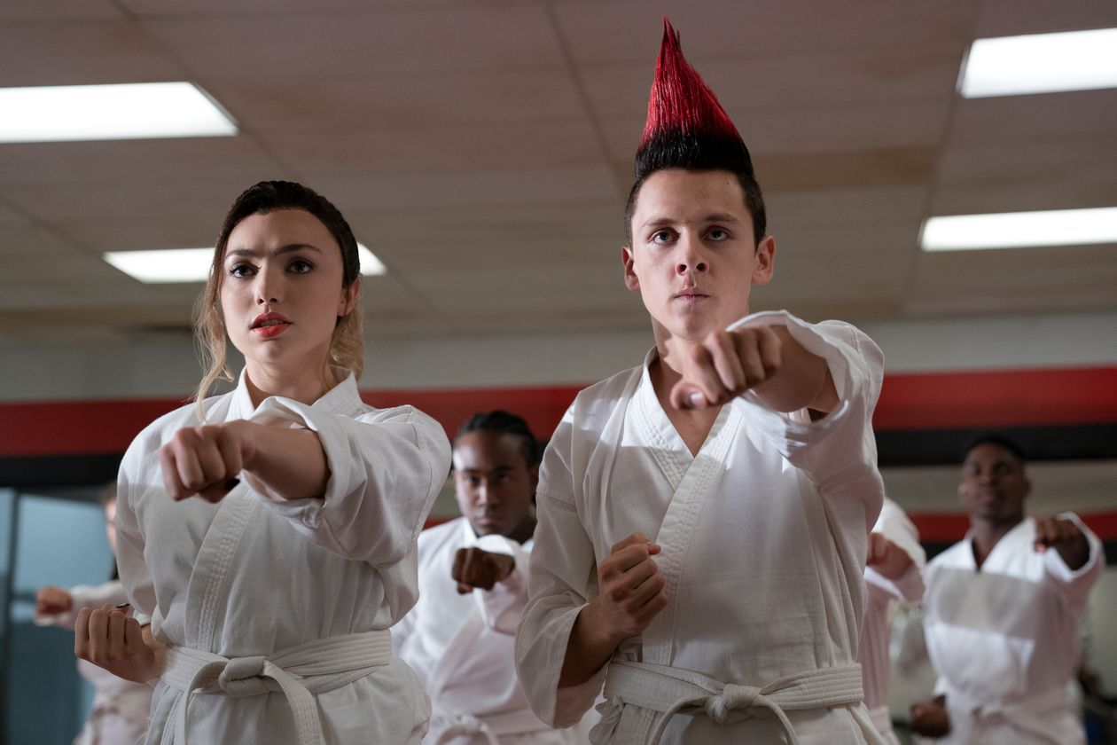 Peyton List, left, and Jacob Bertrand star in 'Cobra Kai.'