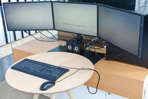 Three monitors connected to a computer