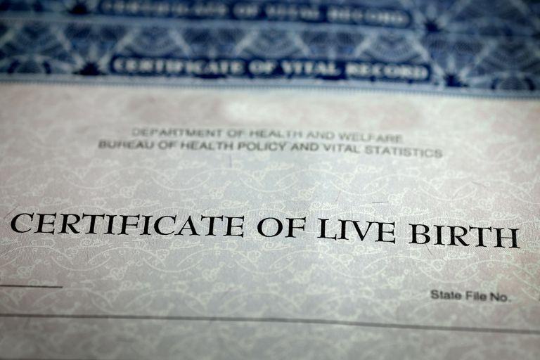 Certificate of live birth closeup