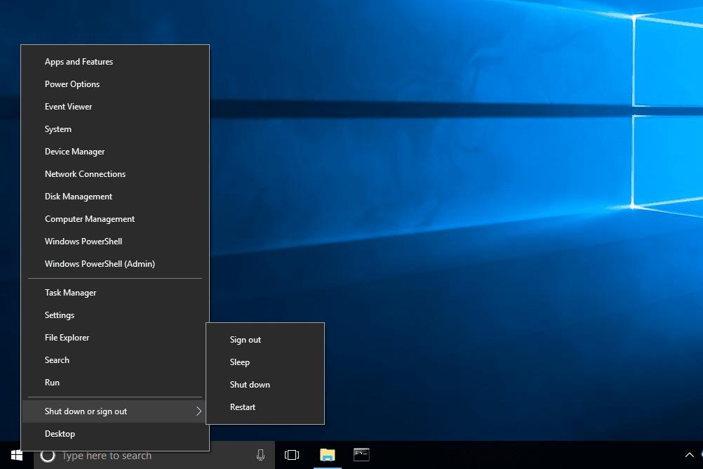 restart and shut down options in Windows 10