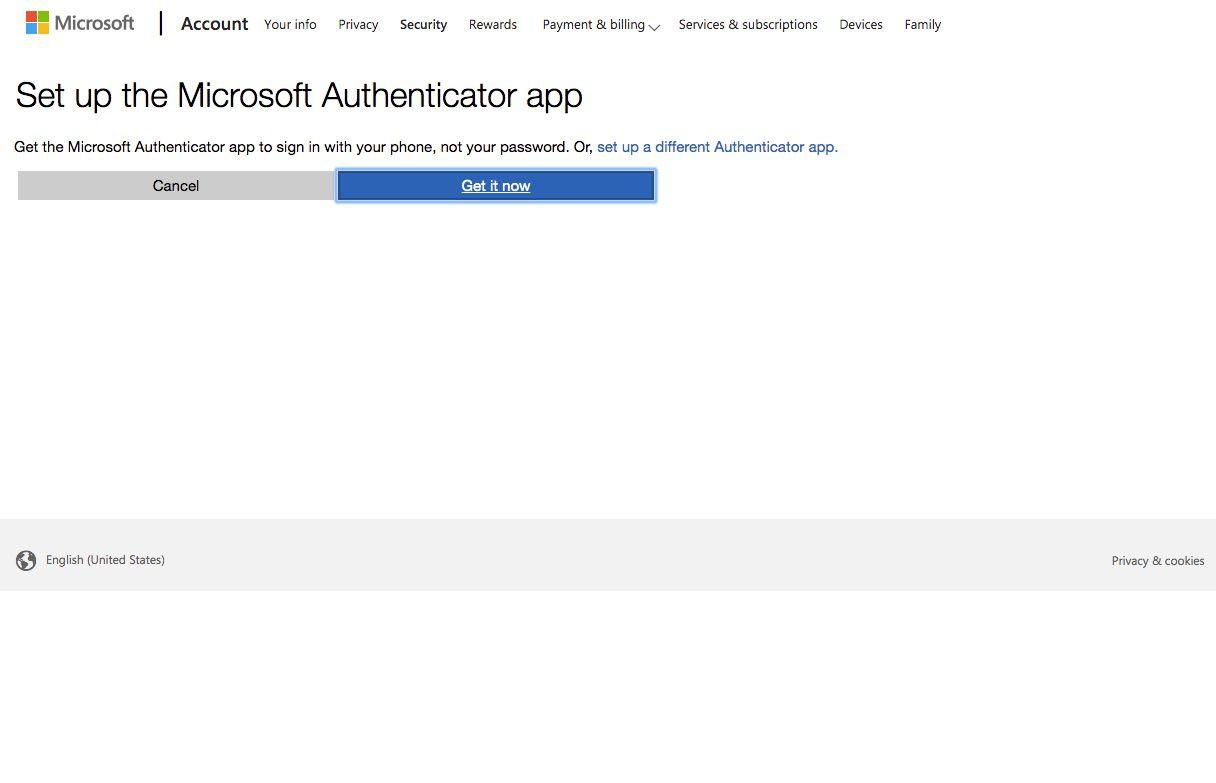 Screenshot of Microsoft Authenticator option