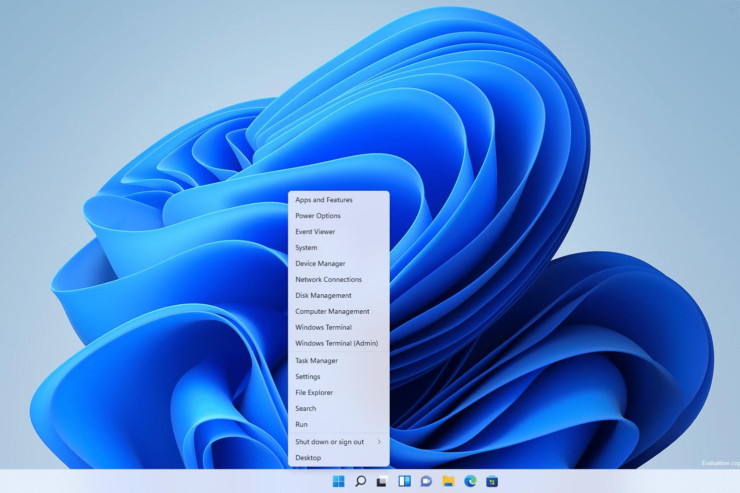 Windows 11 power user menu
