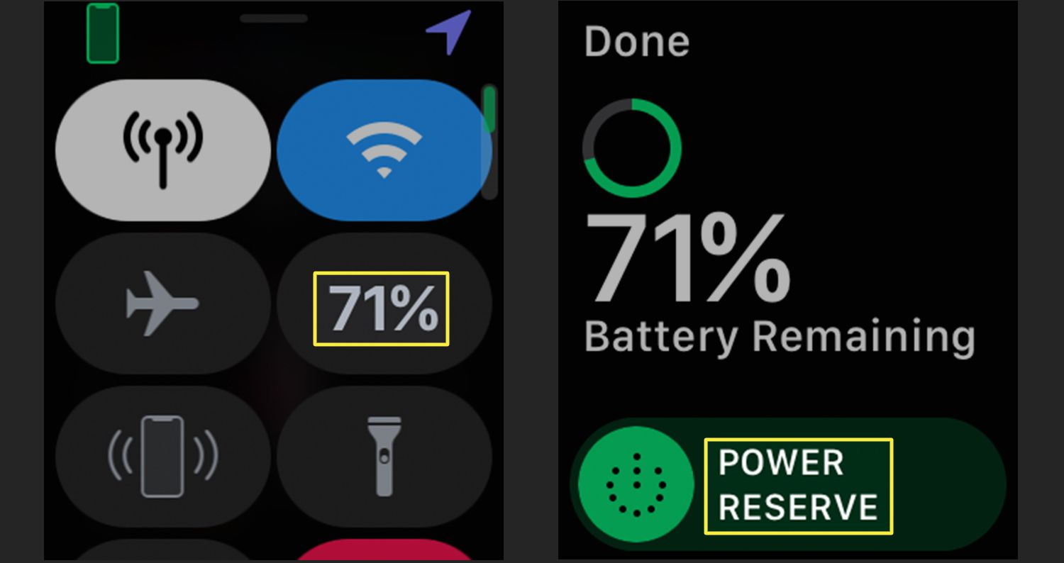 Apple Watch Control Center showing Power Reserve setting