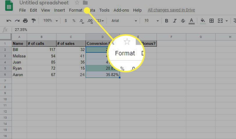 Google Sheets with the Format heading highlighted