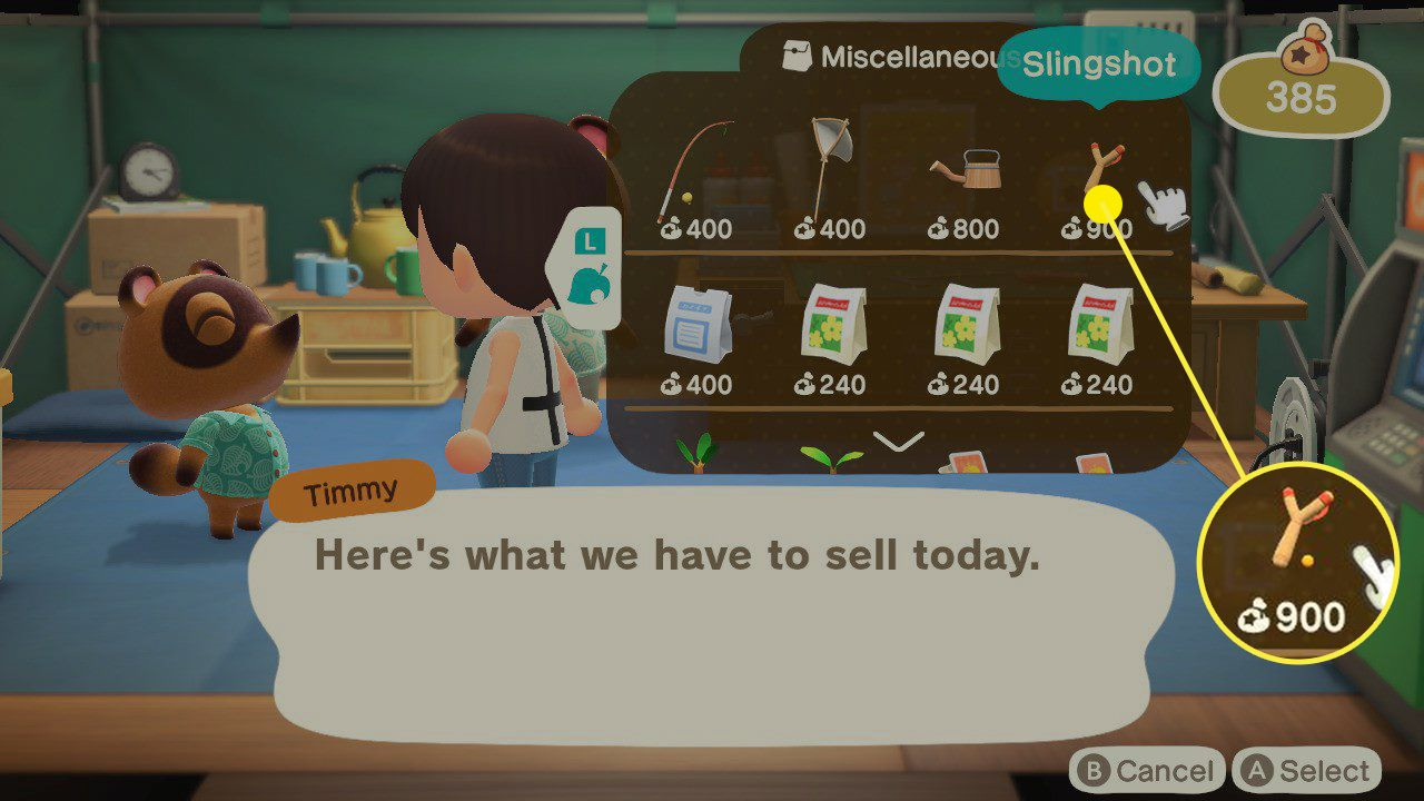 Animal Crossing: New Horizons Timmy's shop