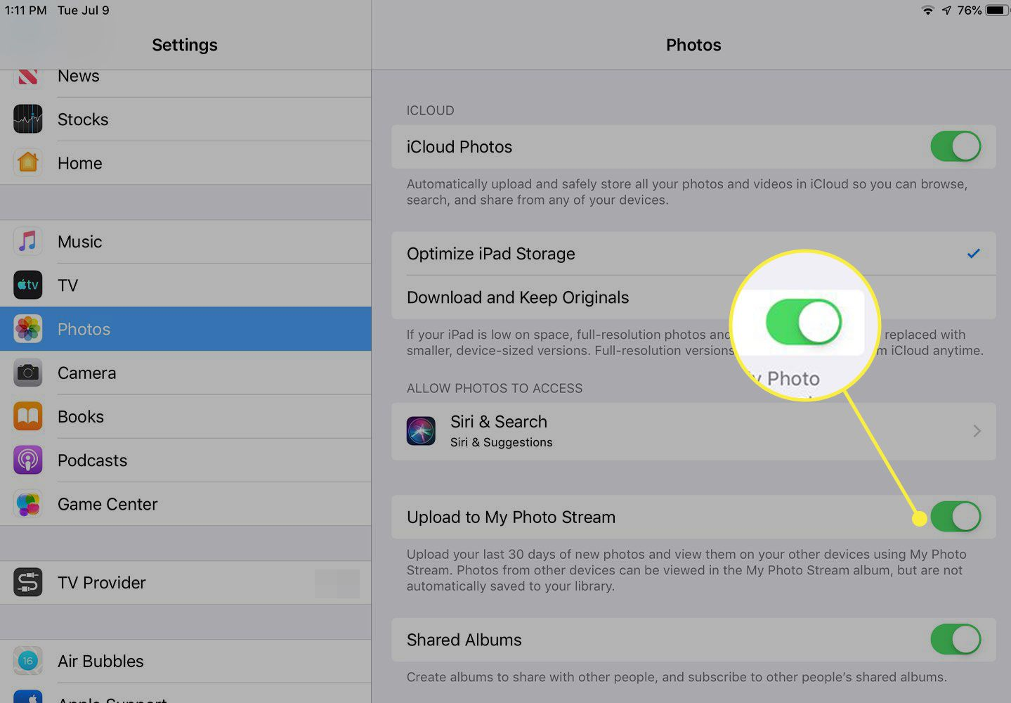 A screenshot of iPad Photos settings with the switch next to