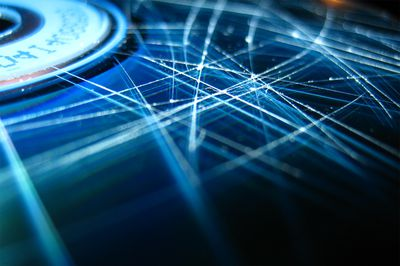 Close-up look at a scratched compact disc