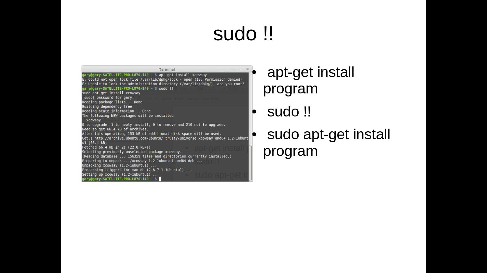 sudo !! command screenshot in Linux