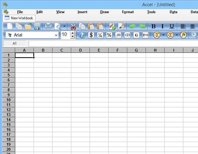 Screenshot of Accel Spreadsheet in Windows 8