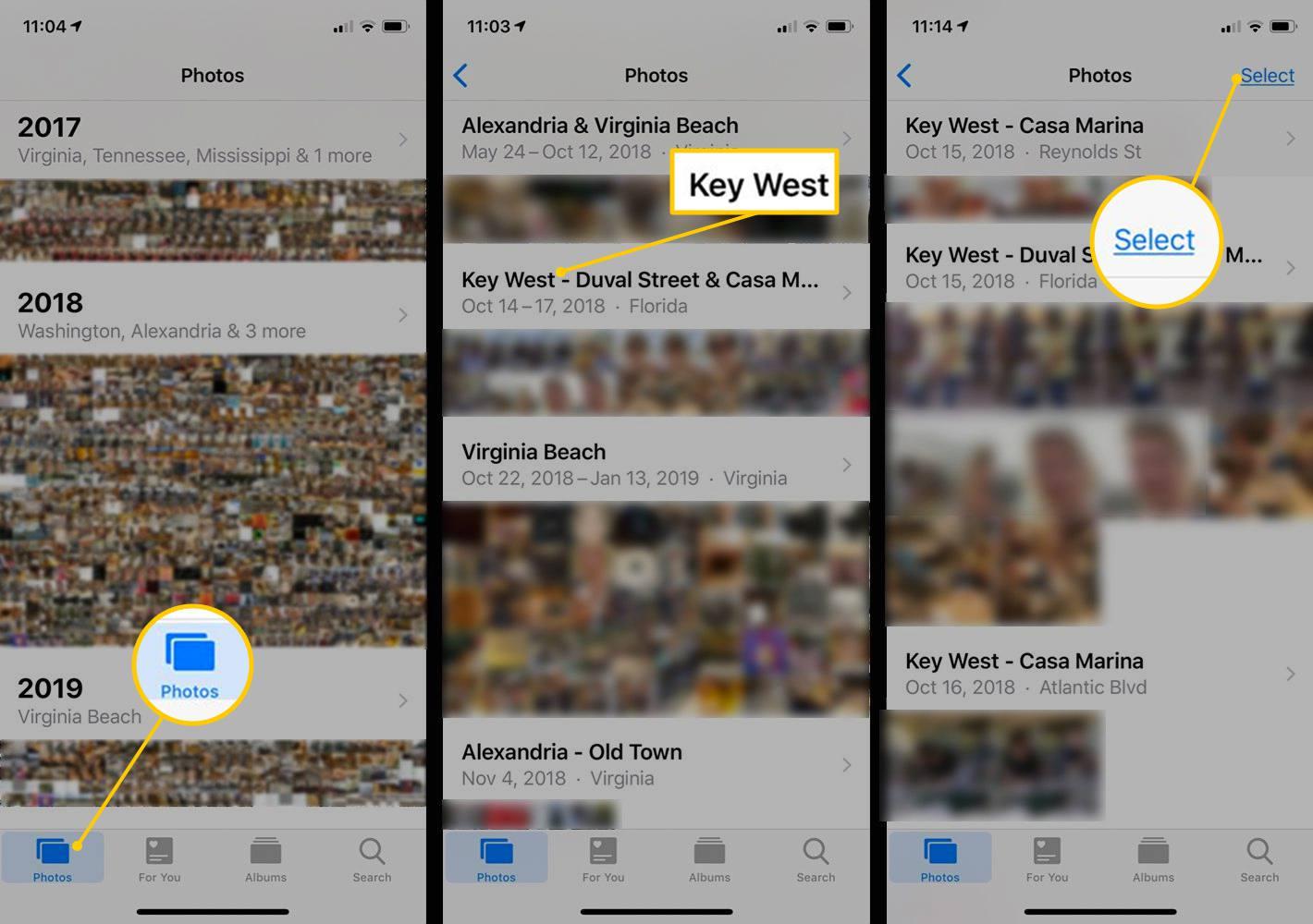 Photos, Album select, Select button in iOS Photos