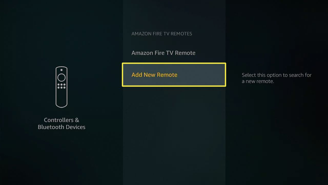 Add New Remote highlighted in Fire Stick settings.