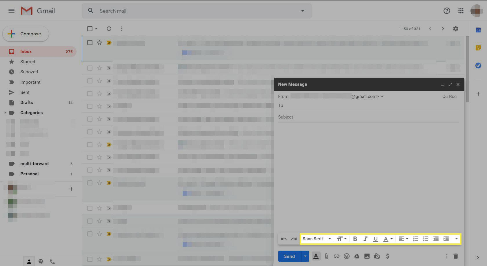 A new message in Gmail with the text formatting options highlighted