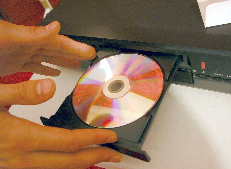 Setting a DVD on a DVD Player Disc Loading Tray