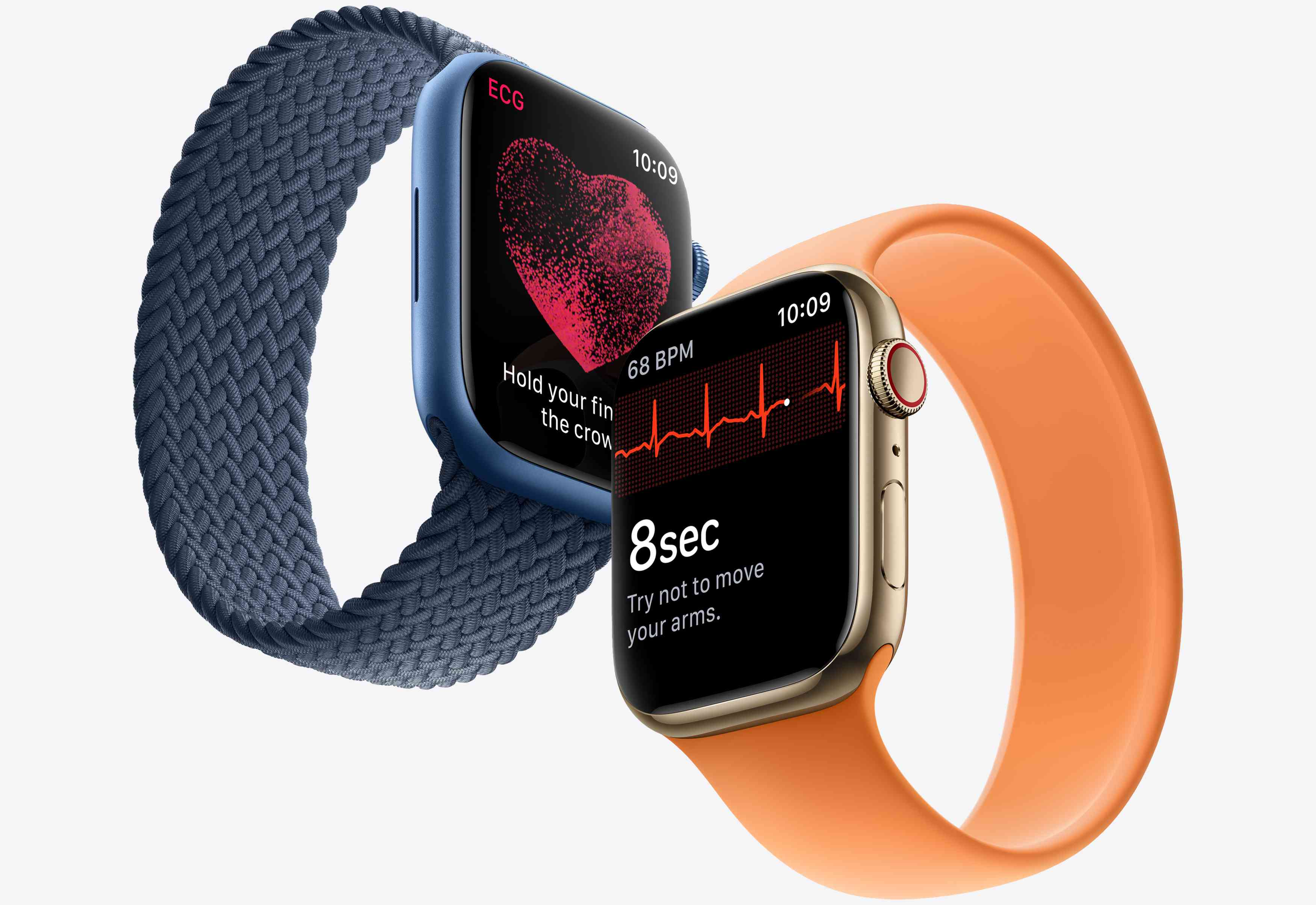 Apple Watch Series 7 in blue and gold