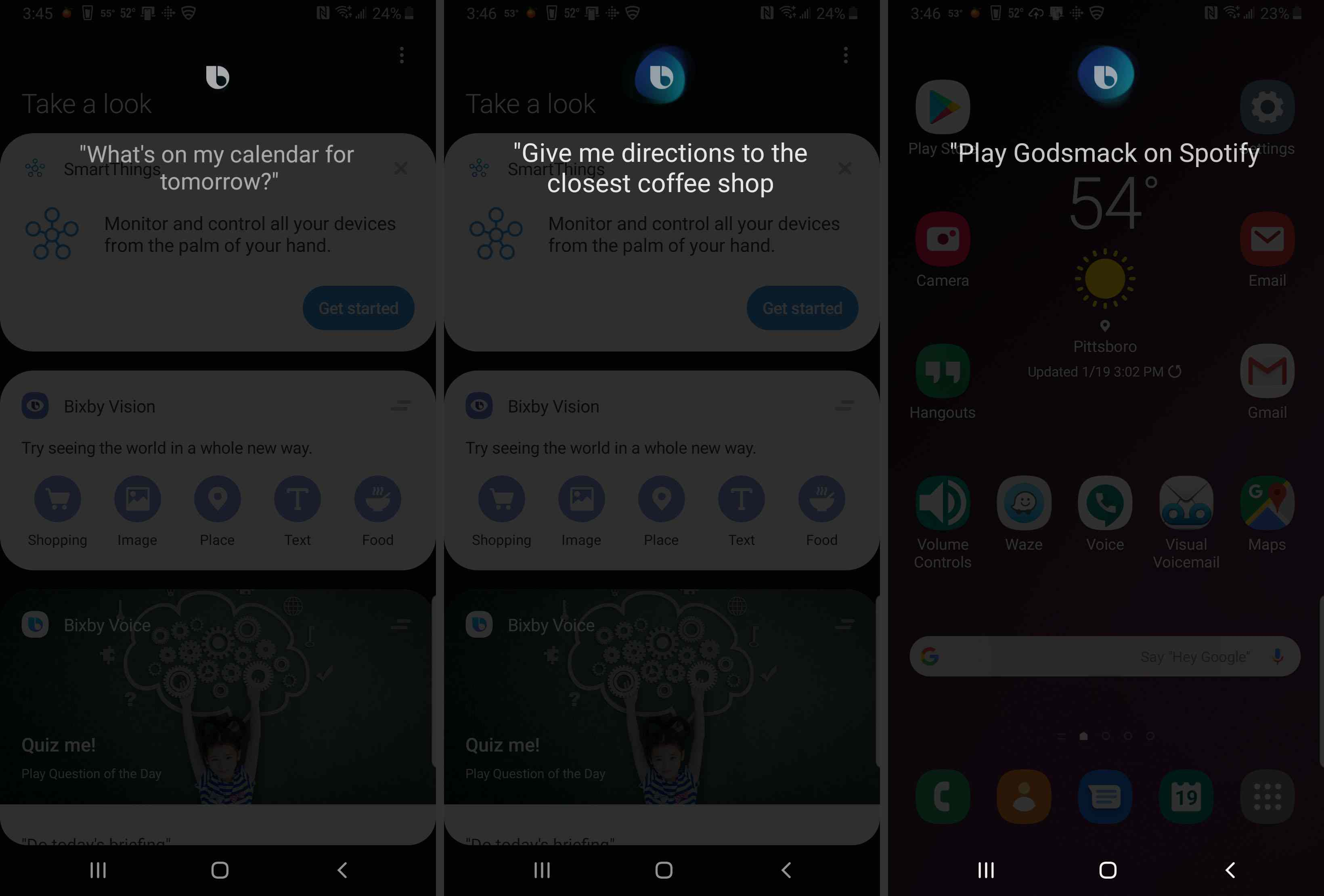 Various commands that Bixby can understand.