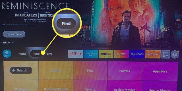 Fire Stick Home screen with Find highlighted