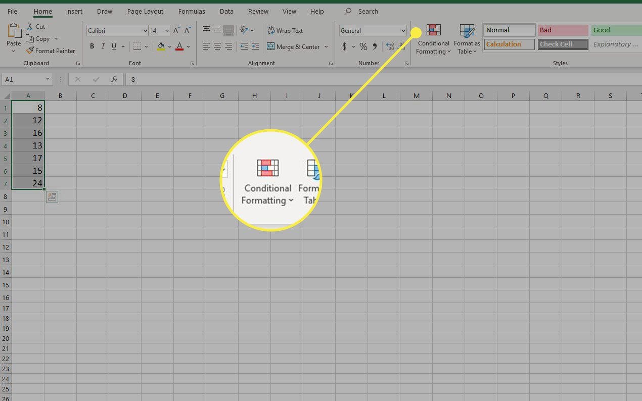 A screenshot of Excel with the Conditional Formatting heading highlighted