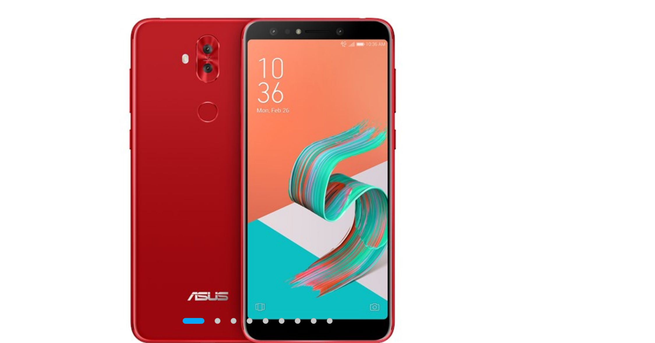 Asus ZenFone 5 Lite in red, front and back view