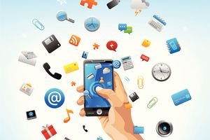 Illustration of a hand holding a smartphone with various icons floating out of it