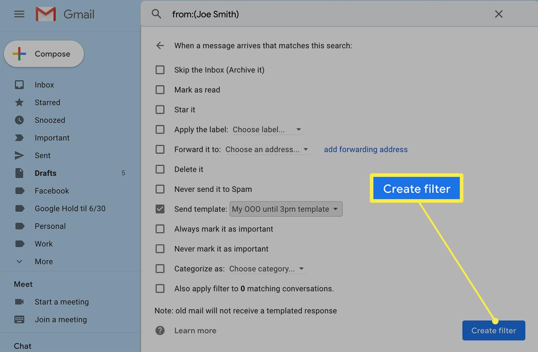 Create Filter screen in Gmail