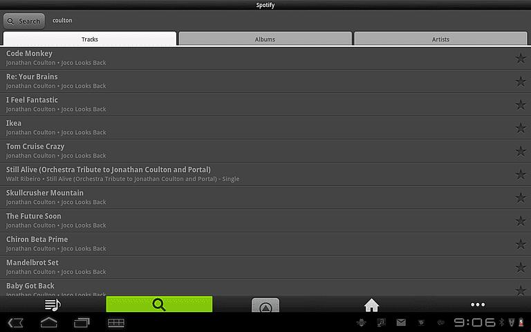 Spotify on a tablet.