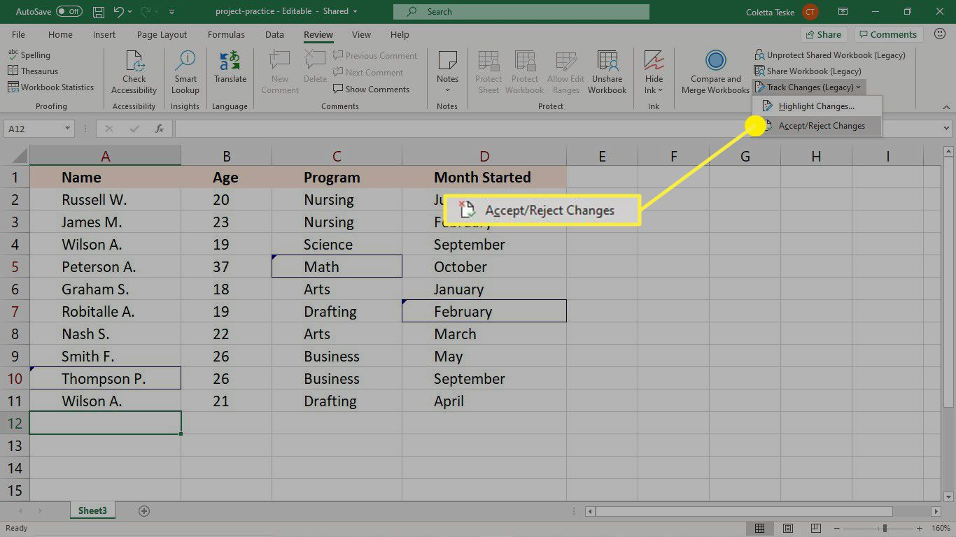 Accept or reject changes to a shared workbook