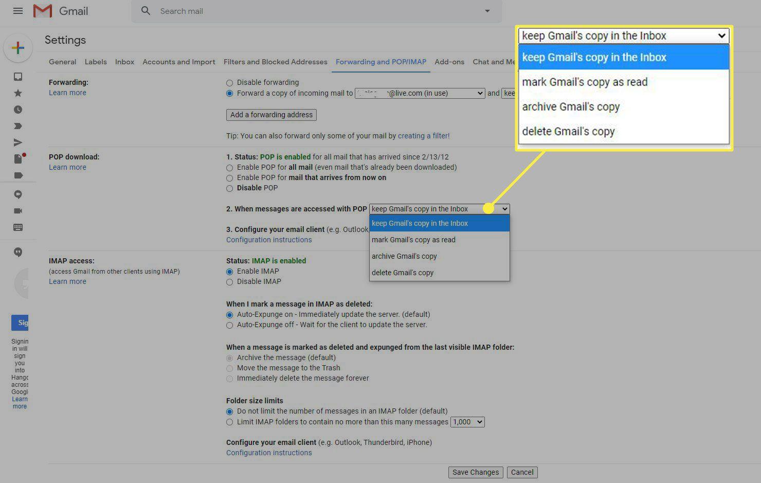 POP settings in Gmail