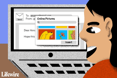 Illustration of a person inserting Online Pictures into an email