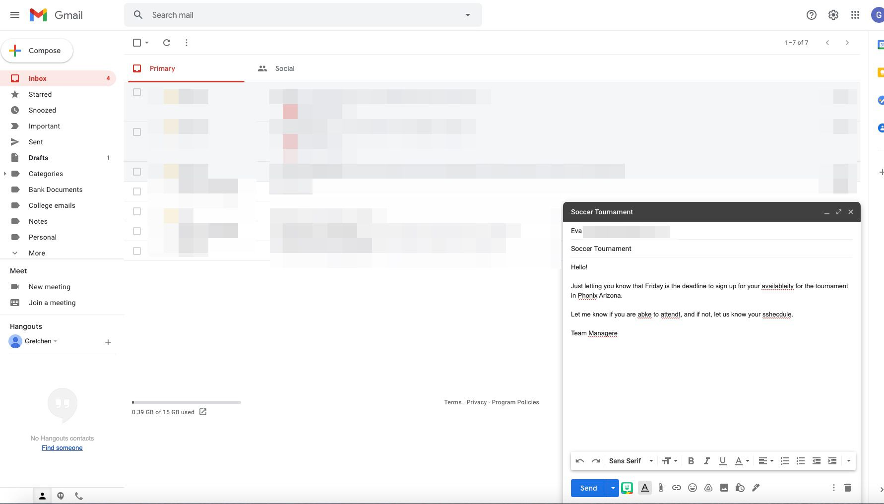 A new Gmail message sample with misspellings