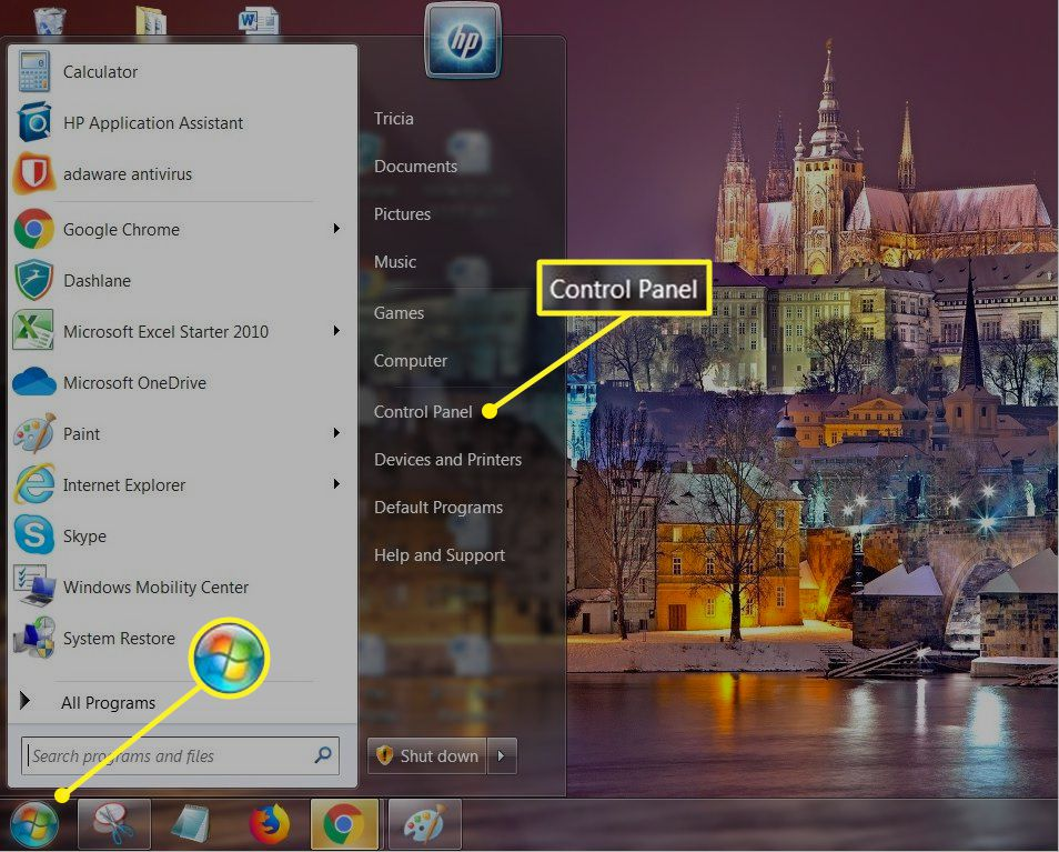 Windows 7 Start menu with Control Panel highlighted