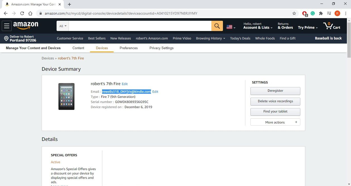 Kindle Fire email address listed on the Manage Amazon Devices page.