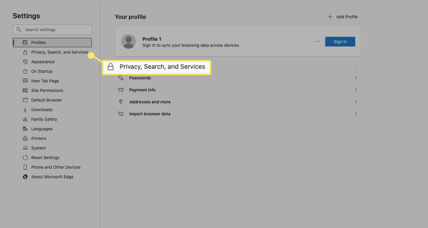 Select Privacy, Search, and Services.