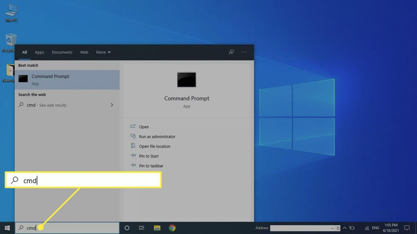 Opening Command Prompt using the Windows taskbar.