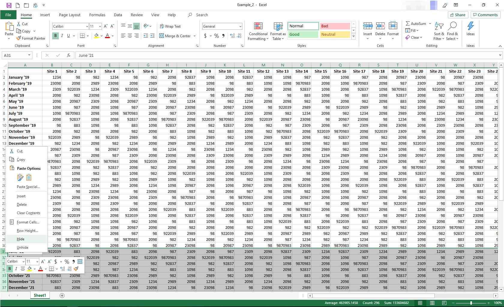 Excel with contextual menu displayed