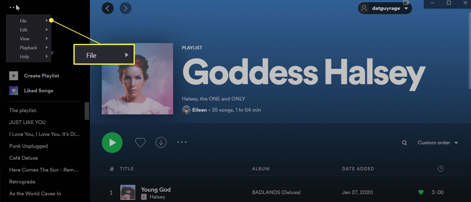 Spotify desktop app with File highlighted