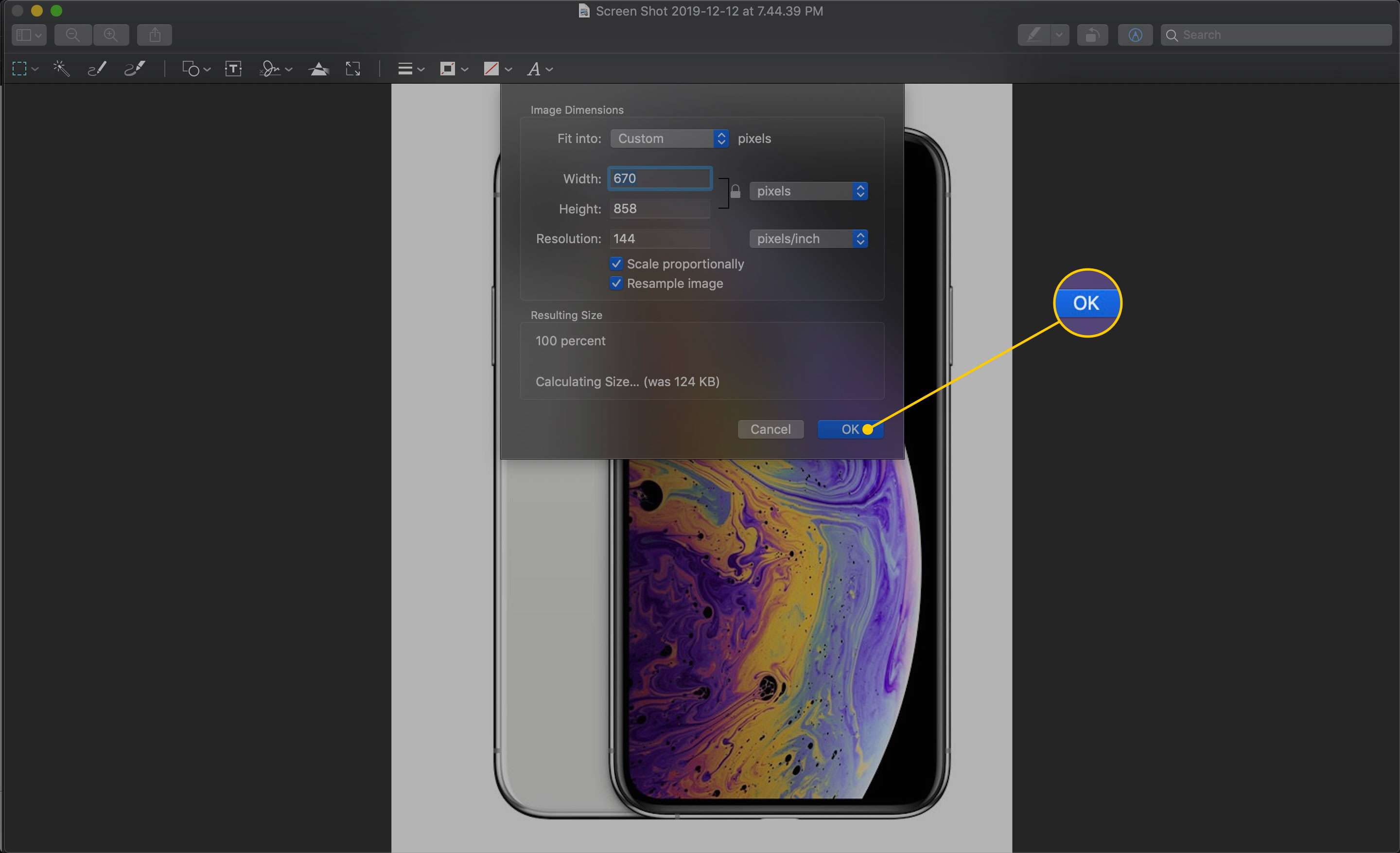 Image Dimensions screen in Preview with the OK button highlighted