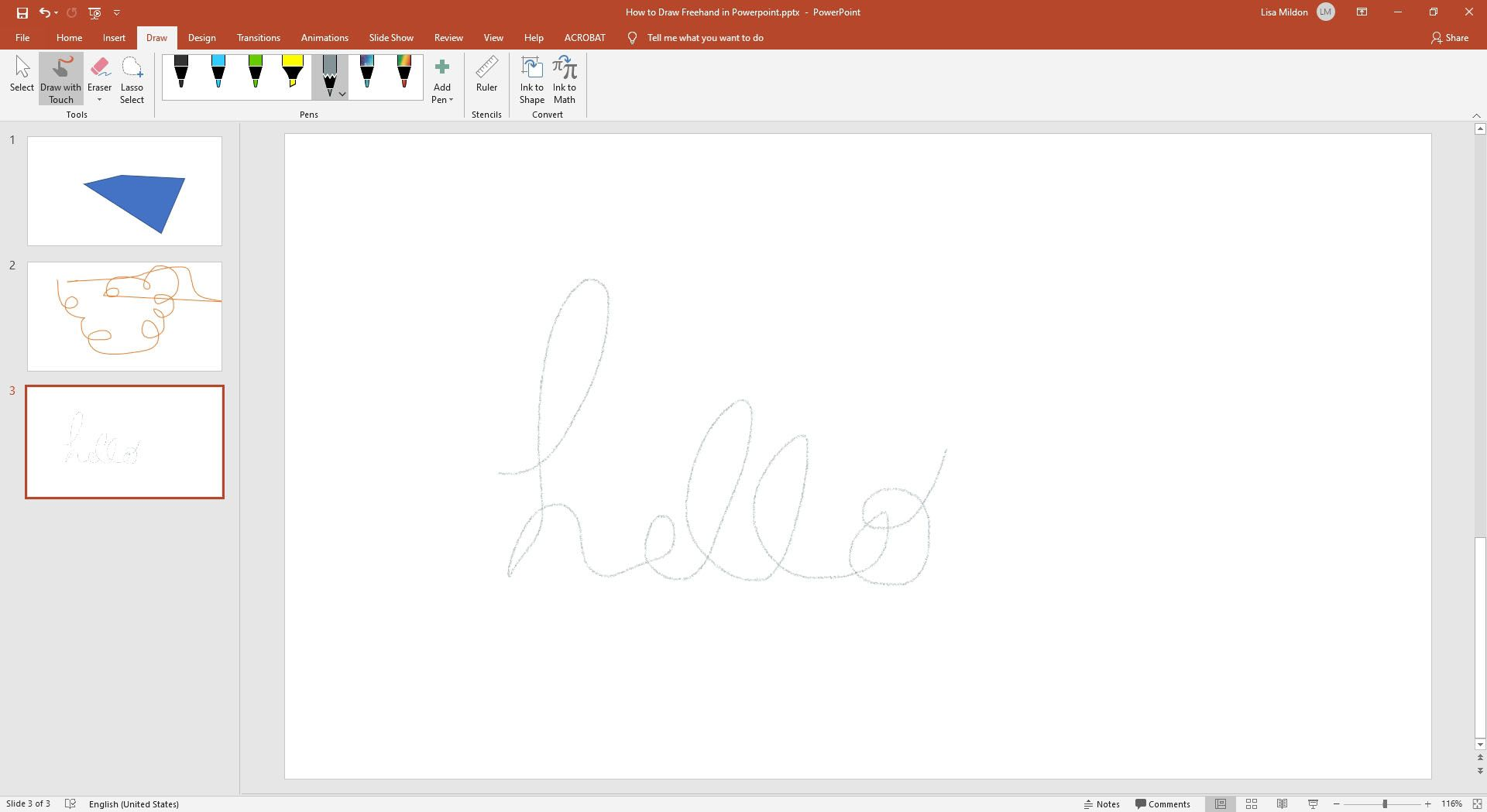 Drawing with the Pen tool inside a Powerpoint presentation