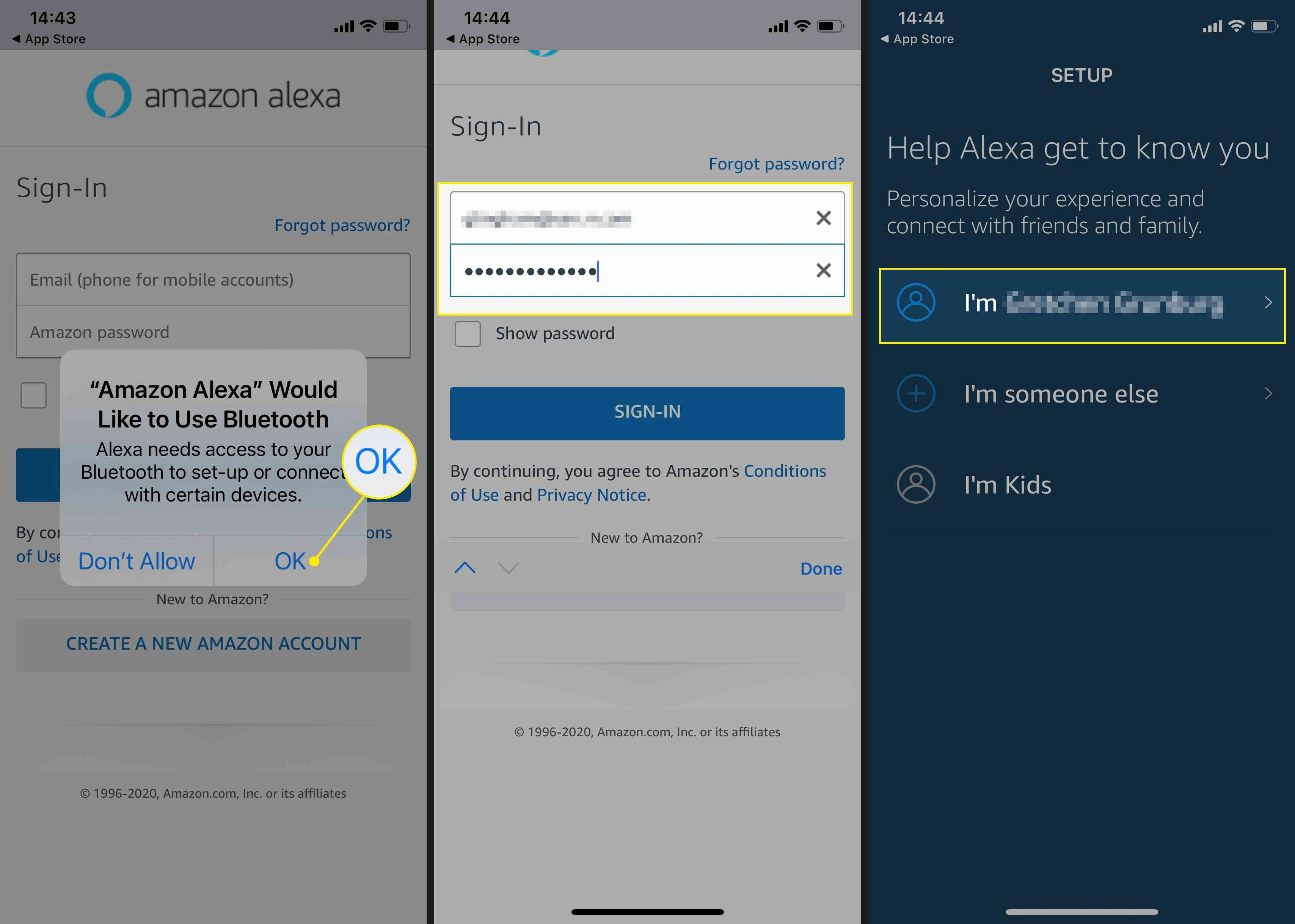 Allow Bluetooth, sign in to your Amazon Account, and confirm your credentials.